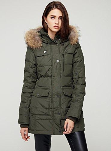Escalier Women`s Down Coat With Raccoon Fur Hooded Winter Jacket Army Green XL by Escalier (Image #3)