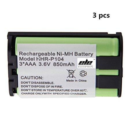 3 Pack Panasonic 850mAh cordless phone battery Green by ePowerEngine