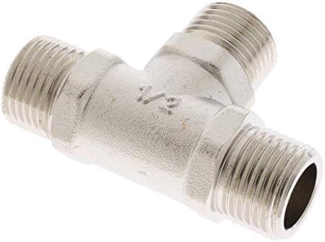 """1Pc 1/2""""ガスホース用三方銅コネクターアダプター、シルバー"""