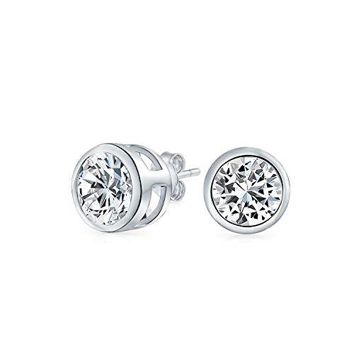 .75CT Round Solitaire Cubic Zirconia Bezel Set Stud Earrings For Men Women 925 Sterling - Solitaire Bezel Stud
