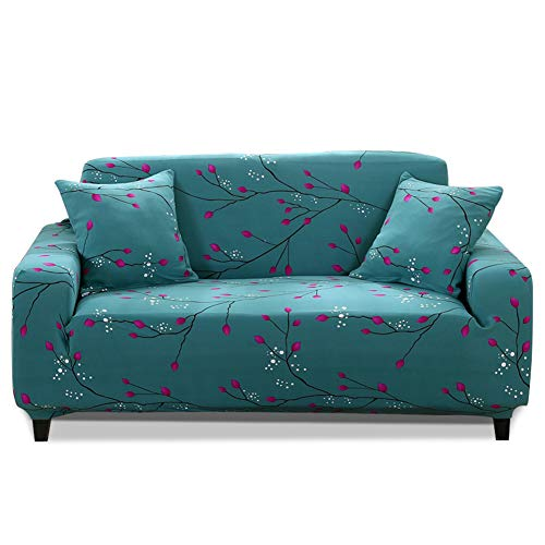 HOTNIU 1-Piece Stretch Sofa Couch Covers - Spandex Printed Loveseat Couch Slipcovers - Arm-Chair Furniture Cover/Protector with Elastic Bottom and Straps, Anti-Slip Foams (4 Seater Sofa, Printed #36)