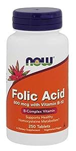 Ácido fólico con vitamina B-12, 800 mcg, 250 tabletas - Now Foods