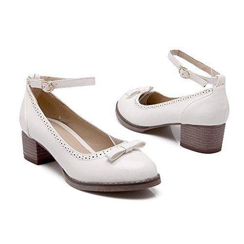 Amoonyfashion Dames Pu Stevige Gesp Ronde Dichte Teen Kitten Hakken Pumps-schoenen Wit