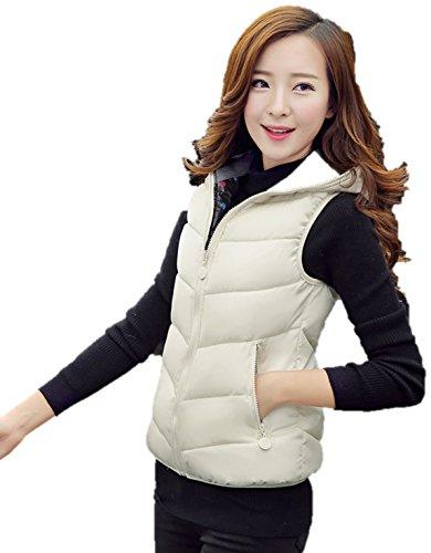 シールビデオ過敏なレディース ダウン ベスト フード 付き 可愛い 防寒 防風 袖なし アウター リバーシブル K12751 (XL, ホワイト)