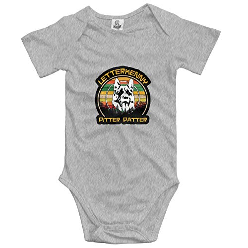 Pitter Patter Let Get At'er Infant Baby Shorts Sleeve Bodysuits Rompers Outfits Gray ()
