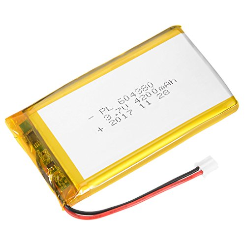 - uxcell® Power Supply DC 3.7V 4200mAh 604380 Li-ion Rechargeable Lithium Polymer Li-Po Battery