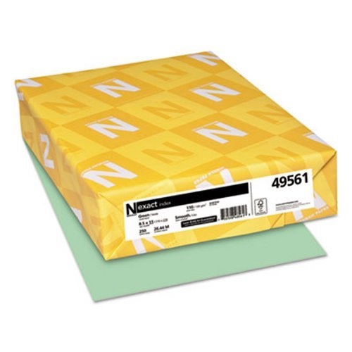 Wausau Paper Index - Wausau Paper® - Exact Index Card Stock, 110 lbs., 8-1/2 x 11, Green, 250 Sheets/Pack - Sold As 1 Pack - Uniform, smooth surface enhances ink holdout and printability.