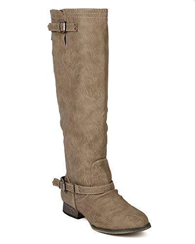 Breckelles Breckelle Bc80 Kvinnor Läder Spänne Ridning Knähöga Boot Beige