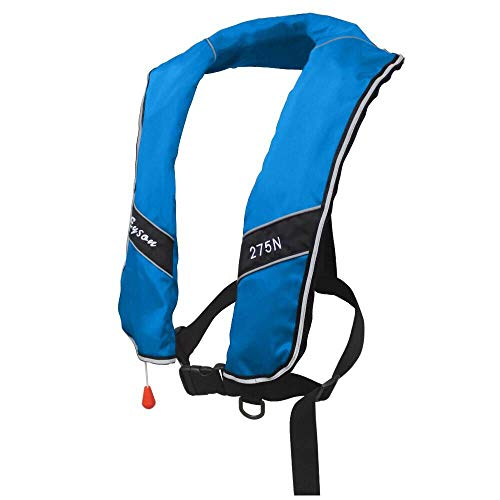 Premium Quality Automatic/Manual Inflatable Life Jacket Life Vest Inflate Survival Aid PFD 275N Buoyancy XXXL Size for Adult New - Blue Color