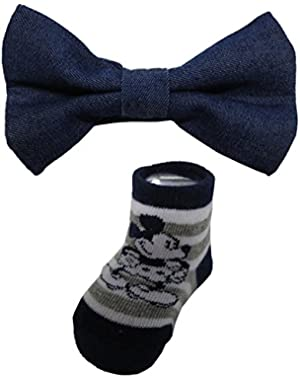 Disney Mickey Mouse Boys Bow tie and booties set – 0 – 12 months [5014]