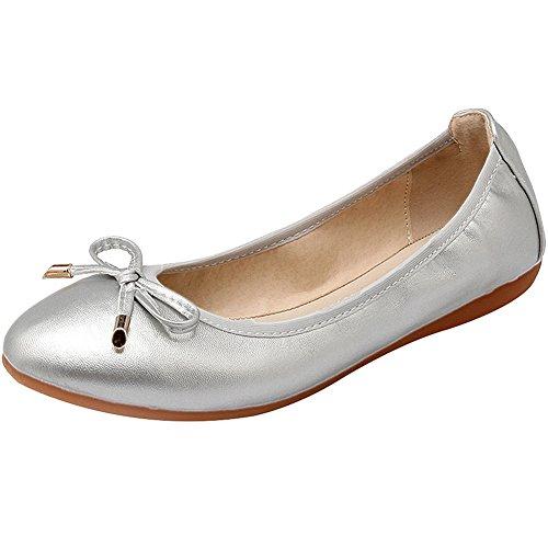 rismart Damen Tanzen Schlüpfen Wohnung Bowknot Elegant Weich Ballerinas  Schuhe Silber