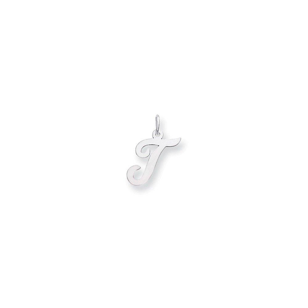 14k White Gold Script Letter T Pendant Initial Alphabet Charm Fashion