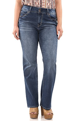 WallFlower Plus Size Long Inseam Luscious Curvy Basic Bootcut Jeans in Addison Size:16 Plus Long (Boyfriend Jeans Long)