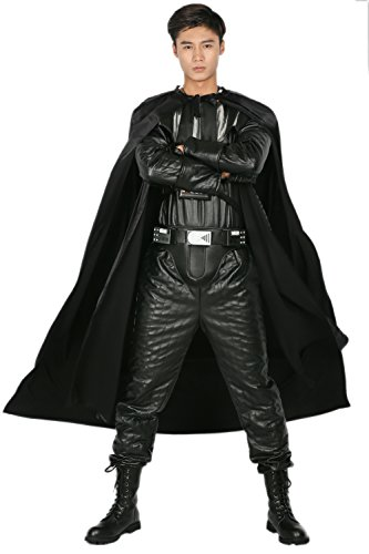 [Darth Costume Black Deluxe Chest Plate PU Garment Cloak Belt Cosplay Full Set XXL] (Darth Vader Chest Plate Costume)