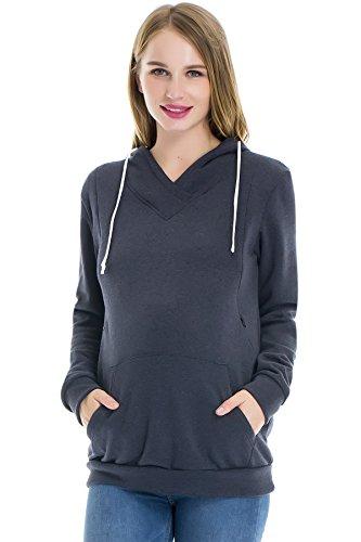 Smallshow Women's Fleece Maternity Nursing Sweatshirt Hoodie With Kangaroo Pocket Dim Grey. S