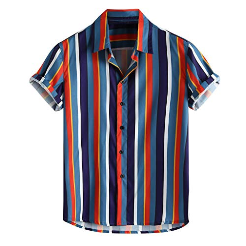 Mens top Men's Colorful Stripe Shirts Summer Short Sleeve Casual Loose Buttons Tee (L, Blue ()