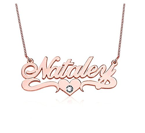 Custom Made Charm NamePlate Laofu 925 Sterling Silver Personalized Name Necklace with Birthstone