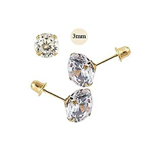 61d8b658f8e6f Amazon.com: 14K Yellow Gold 3mm Round Simulated Diamond Stud Earring ...