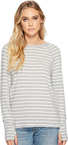 Michael Stars Women's Madison Brushed Stripe Scoop Neck Long Sleeve Top Heather Grey/Chalk Large (Stripe Jersey Subtle Top)