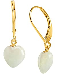 Natural Jadeite Puffed Heart Drop Leverback Earrings in 10K Gold