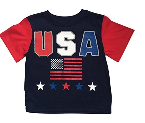 Made in America Toddler Boys USA Flag Patriotic T-shirt 5T Multicoloured (America Flag Patriotic Usa T-shirt)