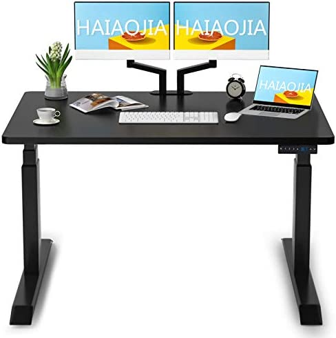 HAIAOJIA Electric Standing Desk Dual Motor Height Adjustable Desk Load 270lbs 3 Stage Stand Up Desk