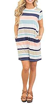 Chvity Women's Short Sleeve Midi Dress Casual Skirt Stripe Color Block Pockets