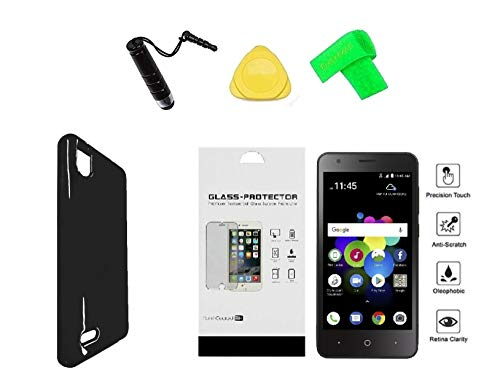 for ZTE Blade T2 Lite Z559DL TPU Flexible Gel Skin Cover Phone Case + Tempered Glass Protector + Extreme Band + Stylus Pen + Pry Tool (Black) ()