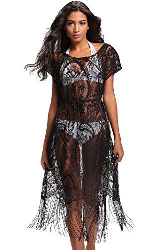 (Costyleen Summer Womens Beach Wear Cover up Swimwear Bikini Lace Floral Long Maxi Beach Dress Black M)