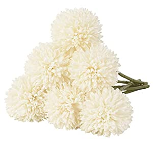 DearHouse Artificial Flowers, 7 Pcs Fake Flowers Silk Artificial Hydrangea Bridal Wedding Bouquet for Home Garden Party Wedding Decoration (White) 77