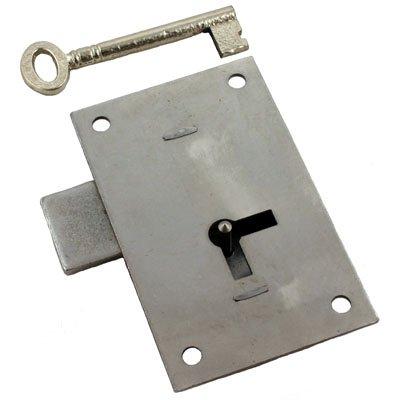 (L-4 Heavy Steel Flush Mount Cabinet OR Wardrobe Door Lock & Skeleton Key + Free Bonus (Skeleton Key Badge))