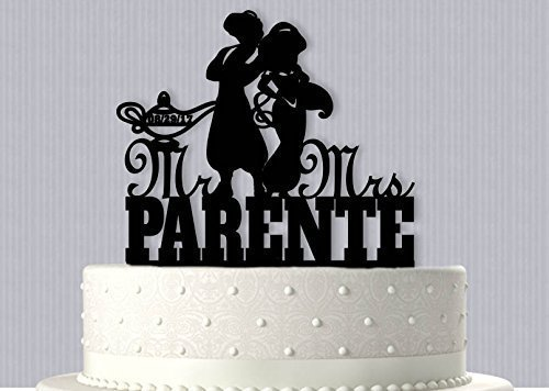 Amazon.com: Aladdin and Jasmine Personalized Wedding Cake Topper ...