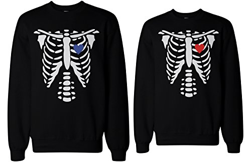 [Skeleton Couple Sweatshirts Halloween Matching Sweaters Fleece for Horror Night] (Cute Couples Halloween Outfits)