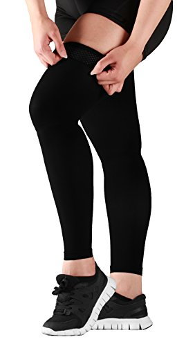 Mojo Thigh High Compression Stockings - Compression Leg Sleeve - 20-30mmHg Medical Graduated Compression - Thigh Hi Recovery Garment Treats Hamstring and Quad Injuries - Large, Black by Mojo Compression socks (Image #3)