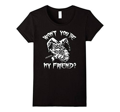 Female Psycho Clown Costume (Womens Scary Clown Won't You Be My Friend T-shirt Tee Small Black)