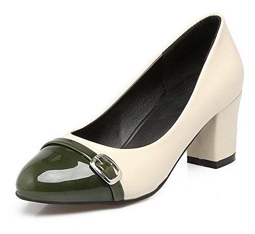 AllhqFashion Damen Blend-Materialien Spitz Zehe Mittler Absatz Ziehen auf Gemischte Farbe Pumps Schuhe Grün