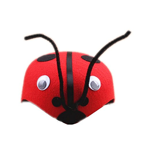 Farm Animal Cartoon Kids Mask Hat for Cosplay Halloween Birthdays Theme Party Costume (Ladybug)
