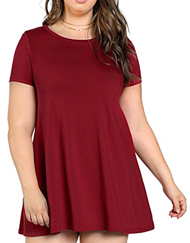 Romwe Womens Plus Size Comfy Swing Tunic Short Sleeve Solid T Shirt Dress Burgundy 3Xl