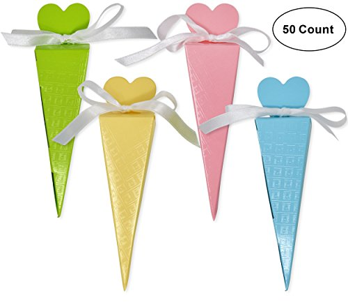 50 Heart Cone Favor Boxes Party Supplies Guest Candy Goodie Treat Bags Decorations for Wedding Reception Birthday Celebration Baby Bridal Shower Girls Boys Light Pink Blue Yellow & Bright Green Colors