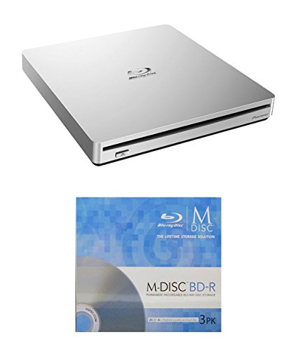 Pioneer 6x BDR-XS06 Slim Portable Blu-ray Burner Bundle with 3 Pack M-DISC BD by Produplicator