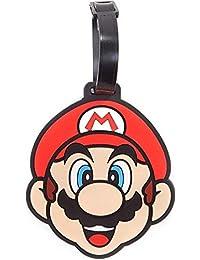 Nintendo Super Mario Bros. Mario Face Rubber Luggage Tag Travel | Multi-Colour