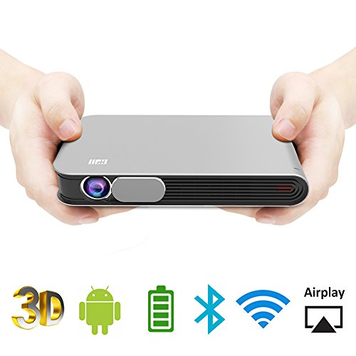 WOWOTO CAN Mini Projector Portable Video Projector DLP Support 3D Full HD 1080P 300in Multimedia with Auto Keystone Android OS Battery HDMI AirPlay WiFi Bluetooth Fit Phone Laptop PC TV Box DVD Player