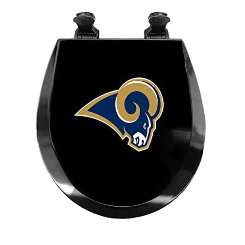 New Molded Wood Black Finish Toilet Seat featuring St. Louis Rams NFL Team Logo outlet
