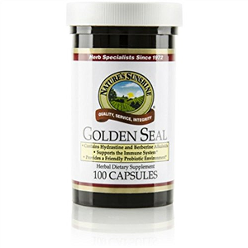 Nature's Sunshine Golden Seal 100 caps Each Helps Support Mucous Membranes , Provide Friendly Probiotic Environment & Immune System Support (Pack of 2) by Nature's Sunshine
