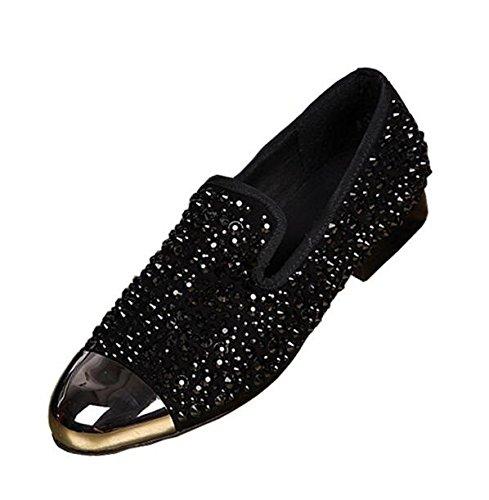 LHLWDGG.K Zapatos De Vestir De Hombres Con Adornos De Cristal Negro Zapatos De Hombre De Oro Rojo Con Punta Dorada, Rojo, 10.5 10.5 red