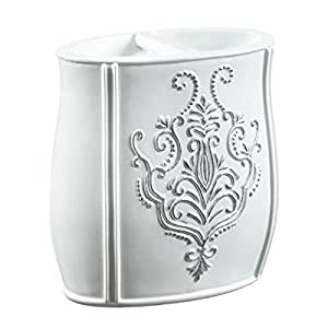 Creative Scents Vintage Toothbrush Holder, 2.25-Inch by 4-Inch by 4.25-Inch, White/Silver by Creative Scents