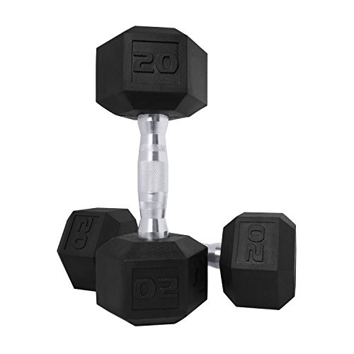 CAP Barbell SDPP-040 Color Coated Hex Dumbbell, Black, 20 pound, Pair