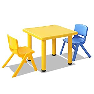 Kids Table and 2 Chairs Set Children Plastic Furniture Play Outdoor Yellow 3PC