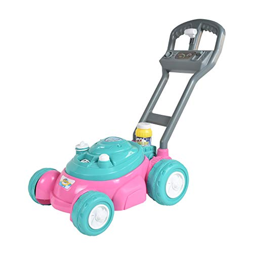 Sunny Days Entertainment Maxx Bubbles Bubble-N-Go Toy Lawn Mower with Refill Solution, Pink -