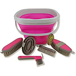 Southwestern Equine Collapsible Grooming Kit 10 Liter Bucket and 5 Grooming Tools By (Pink)